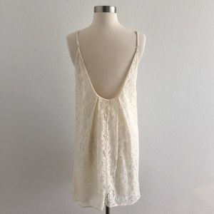 BCBGeneration Cream Low Back Strappy Lace Dress!